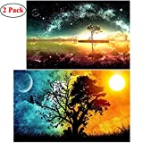 BEMEI 2 Pack 5D Diamant Full Malerei DIY Crystal Strass Stickerei Bilder Kunst Handwerk für Home Wall Decor Starry Sky and Sun & Moon