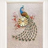 Aemember Peacock Wanduhr Wohnzimmer Uhren Art Deco Wecker stumm Wandtisch Quarzuhr, 20 Zoll oder mehr, hing Mui-Custom) [Aspekt 78 cm * 50 Cm -