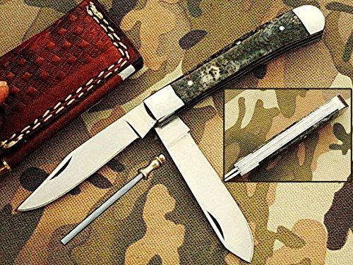 Handgefertigt 18cm Trapper Doppelklingen Awesome Klapp Tasche Messer aus mit 420D2Stahl und Giraffe Knochen Griff: (bdm-33) (Giraffen-knochen)