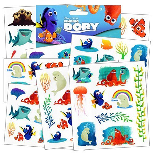 Disney Finding Dory Tattoos - 75 Assorted Temporary Tattoos ~ Dory, Nemo, Marlin, Squirt the Turtle, Bailey, and more! by Disney Studios