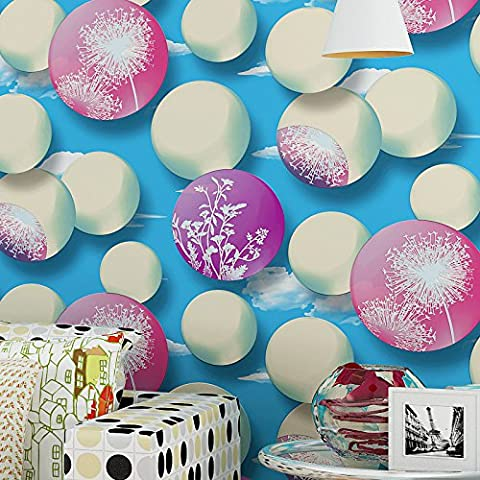 FUMIMID Carta da parati non tessuta 3D caldo cerchio tarassaco camera da letto salotto divano TV sfondo tappezzeria , 123056 blue