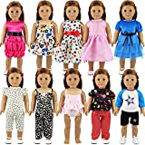 Miunana Clothes Outfits Dresses Swimsuits Bikini For 16-18 Inch American Girl Dolls And Other Dolls (10 PCS Clothes)