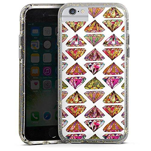Apple iPhone X Bumper Hülle Bumper Case Glitzer Hülle Triangle Dreieck Diamond Bumper Case Glitzer gold