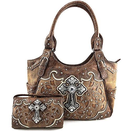 Justin West Handtasche aus Leder, lasergeschnitten, mit Strasssteinen besetzt, verdeckte Schultertasche, Braun (Brown Handbag and Wallet), Large Montana Tri-fold Wallet