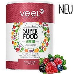 Multivitamin Superfood mit Acai, Matcha Tee & Spirulina Pulver | Für Protein Shake oder Smoothie | Vitamine, Mineralstoffe, Chlorella & Leinsamen | Mit Stevia – VEEL SUPERFOOD WILD BERRY