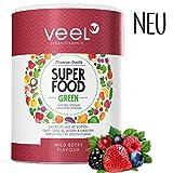 Multivitamin Superfood mit Acai, Matcha Tee & Spirulina Pulver   Für Protein Shake oder Smoothie   Vitamine, Mineralstoffe, Chlorella & Leinsamen   Mit Stevia - VEEL SUPERFOOD WILD BERRY