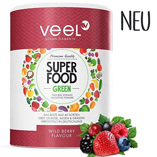 Multivitamin Superfood mit Acai, Matcha Tee & Spirulina Pulver | Für Protein Shake oder Smoothie | Vitamine, Mineralstoffe, Chlorella & Leinsamen | Mit Stevia – VEEL SUPERFOOD WILD BERRY (Gehen Obst)