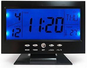 Zuru Bunch Stylish Digital Voice Control Back-Light LCD Alarm Clock Black Clock