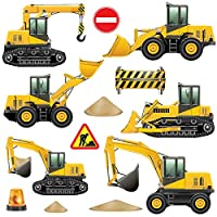 GET STICKING DÉCOR® CONSTRUCTION VEHICLES WALL STICKERS COLLECTION, HeavyDuty Cons2, Glossy Vinyl, Multi Color. (Medium)