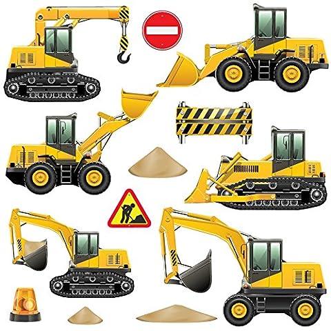 GET STICKING DÉCOR® Véhicules De Construction Stickers Muraux/ Autocollants Collection,