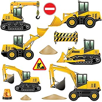 Tractor and Digger Kids Bedroom Nursery Wall Stickers (Childrens ...