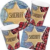 Neu: 49-Teiliges Party-Set * Sheriff * für Kindergeburtstag mit Teller + Becher + Servietten + Luftballons | Wilder Westen Kinder Geburtstag Cowboy Motto