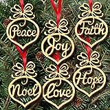 Veewon Natale di cuore ciondolo in legno a forma di legno appeso ornamento Decorazione