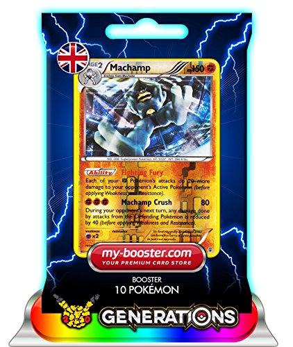 MACHAMP (Machomei) reverse holo 42/83 150HP XY Generations- Booster mit 10 Englisch Karten Pokemon my-booster