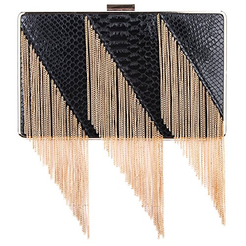 Bonjanvye Snake Pattern Tassel Clutch Purses for Women Evening Clutches Black