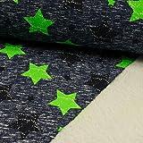Sweatshirt Stoff Sterne blau & neongrün -Preis gilt für