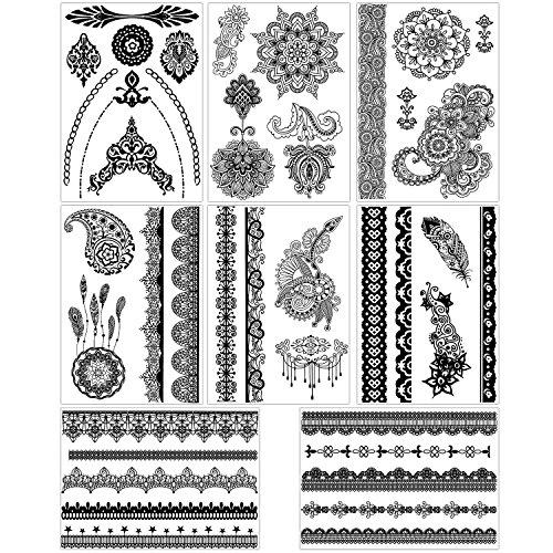 bmc-8-sheet-set-ornate-lace-shaped-black-color-temporary-body-art-tattoos