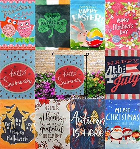 WindFlair Seasonal Garten Flagge Set für Draußen, Garten Dekorationen   10Pack Sortiment 12Zoll x 18Flaggen   Doppelseitig, Polyester, Sehr Yard Decor mit Freunde und Familie (Familie Halloween Stolz)