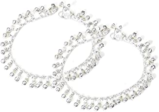 My.Shop Ghungroo Payal Anklets for Women Gift Jewellery Silver Colour Polished Anklet White Metal