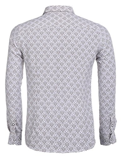 Modfine Herren Paisley Hemd Männer Baumwoll Drucken Hemd Langarmhemd Slim Fit 7 Farbe A-1-PAT2