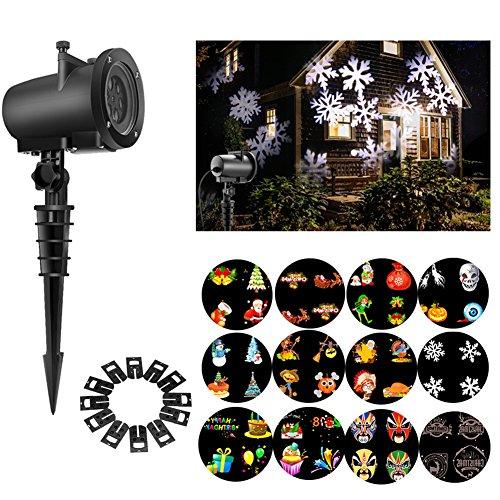 Halloween-Projektor-Licht, LED-Projektor-Licht-Rasen-und Landschaftslicht mit austauschbaren Gobo-Rutschen u. Unterseite u. Spike Wasserdichter mehrfacher beweglicher Modus für Weihnachtsgeburtstags-neues Jahr Halloween-Danksagungs-Party-Feiertag EU-Stecker (8W) (Die Ansicht Halloween)
