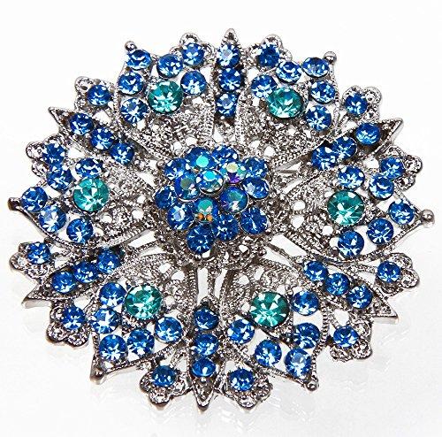 Elegante bellissimi grande cristallo spilla strass turchese blu (BR007)