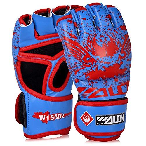 Vbiger MMA Leder Handschuhe Ultra mit Integrierter Bandage Training Schlagpolster (Blau & Rot)