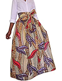 SG Afrikanischer Blumendruck Gefaltete höhe Taille Maxi Rock A Line