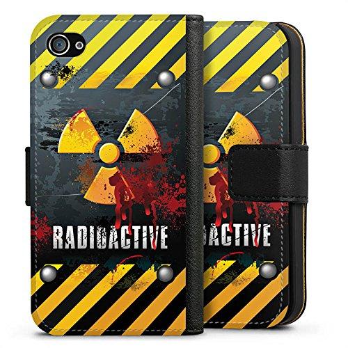 Apple iPhone X Silikon Hülle Case Schutzhülle Radioactive Blut Atom Sideflip Tasche schwarz