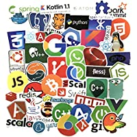 Sanmatic 50Pcs Laptop Stickers for Developer Programming Language include Sticker IT logo,C++,Python,Linux,Swift,for Geeks,Engineers,Hackers,Geeks,Coders.