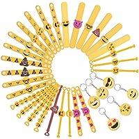 15f14a9a4ce5 Tomkity 28 Emoji Pulsera de Goma Banda de Silicona con 6 llaves de Emoji  para Los