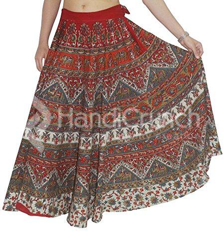 ec5ad93a59 exportaciones Hechas a Mano Falda Abrigo Alrededor de la Falda Vestido  Hippie Boho Gitana algodón Tribal Indio Mandala Rapron