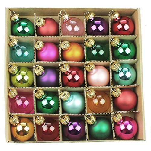 Box of 25 Multi Coloured Mini Glass Baubles (3cm)