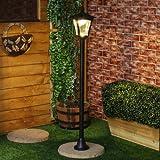 Festive Lights, lampione a luce solare da 1,2 m, colore: nero, Alluminio, Warm White, 1,2 m 1.20 watts
