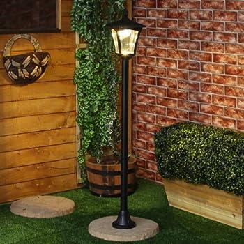 Black Lamp Post   Solar Powered   1.2m Tall   Warm White LEDs   Dual  Brightness By Festive Lights
