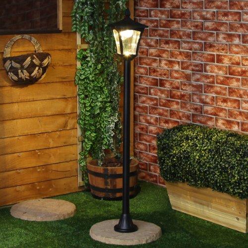 Éclairage Extérieur Potelet Solaire Noir à LED Blanc Chaud 120cm pour Jardin, Entrées, Chemins (Pile Rechargeable Incluse)
