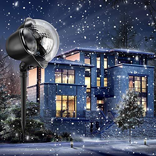 LED Schneeflocke Projektor Licht Wasserdicht Weihnachten Schneefall Projektor Leuchten mit drahtloser Fernbedienung und Timing Funktion für Außen und Innen Deko,Partys, Weinachten und Feiertage