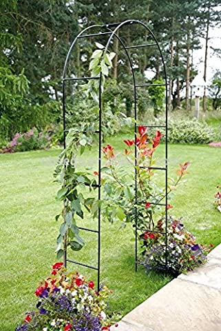 Garden Mile® Large 2.4M Black Metal Garden Arch Heavy Duty Strong Tubular Arbour For Roses Climbing Plants Support Archway garden
