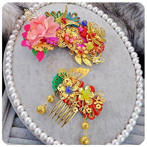Ensemble de 2 étonnantes peignes traditionnels cheveux exquis de mariage chinois