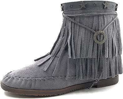 Angkorly - Scarpe Moda Stivaletti Scarponcini Stivali con Le Frange Donna Frange Tanga Metallico Tacco a Blocco 1.5 CM