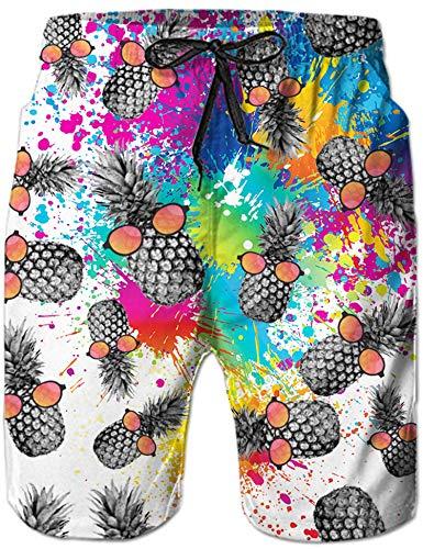 Mens Beach Shorts 3D Gedruckt Lustige Pineapple Boardshorts Hawaii Funky Summer Holiday Swim Pants Colorful M