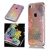 MoEvn Coque iPhone 8 Transparente, iPhone 7 Case, Souple Silicone Gel TPU Housse Ultra Fine Soft Etui Anti-Choc de Protection Bumper pour iPhone 7/8 avec Cute Motif - Fleur en Dentelle