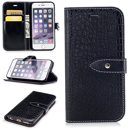 Nutbro iPhone 6 Plus Case, iPhone 6S Plus Flip Case [Crocodile Pattern] Premium PU Leather Wallet Case Flip Phone Case Cover with Card Slots Black BF-6-Plus-88