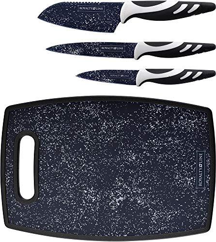 BBQ CAMPING 4 pièces Set de couteaux en marbre Planche à découper Couteau de chef Couteau de cuisine