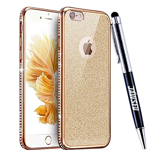 JAWSEU Coque Etui pour iPhone 6/6S 4.7,iPhone 6S Plastique Coque Ultra Slim,iPhone 6 Hard Case Pailletee Bling Housse Etui,2017 Neuf Luxury Design Femme Homme Fashion Ultra Mince Thin Cristal Clair Co Or*