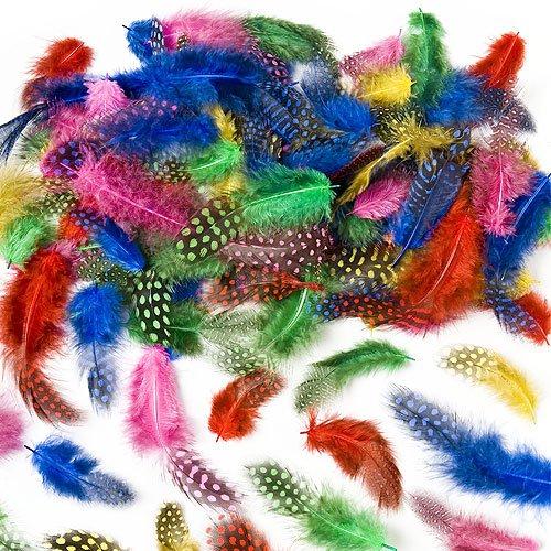 Gesprenkelte Federn zum Basteln für Kinder - ideal als Dekoration zum Karnival für Masken und Kostüme - 120 (Für Karnival Kostüme Kinder)