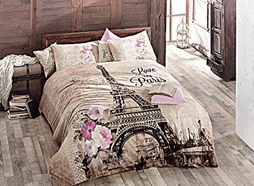 Gold Case Pink Paris Bettbezug Set (4Stück)-Queen Size-100% Türkische Baumwolle/Made in Türkei-Premium Artikel, Queen Größe in Box - Full-size-tröster-sets