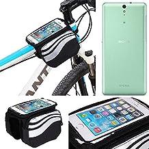 Bolso Bolsa Funda Bicicleta para Sony Xperia C5 Ultra, Teléfono Móvil Funda Móvil soporte tubo Bici Ciclismo, negro y plata, Impermeable Resistente al Agua - K-S-Trade(TM)