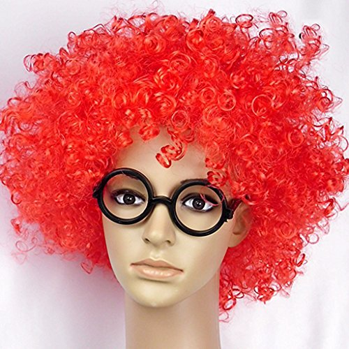 Halloween Perücken Party Show Requisiten Farbe Clown explosive Haare Cap ( Farbe : Rot )