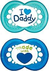 MAM Babyartikel 67635200 Original Silikon I love Daddy, boy, 6 - 16 Monate, Doppelpack , Blau (gemischt)